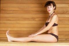 Woman in sauna Stock Photos