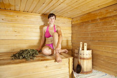 Woman  at sauna Stock Image