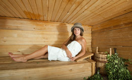Woman  in sauna Royalty Free Stock Photos