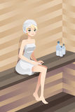 Woman in sauna Stock Photos