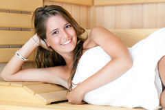 Woman in the sauna Stock Photography