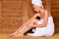 Woman in sauna. Royalty Free Stock Images