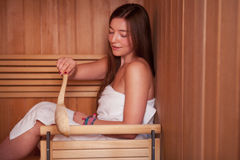 Woman in a Sauna Stock Image