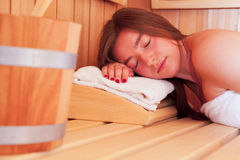 Woman in a Sauna Stock Images