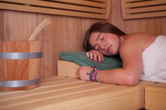 Woman in a Sauna Royalty Free Stock Photography