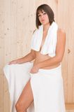 Woman in a sauna or relax massage Stock Images