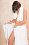 Woman in a sauna or relax massage session Royalty Free Stock Photography