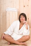 Woman in a sauna or relax massage session Royalty Free Stock Images