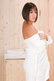 Woman in a sauna or relax massage session Stock Photo