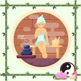 Woman in the sauna steam flat  illustration colorful concept Stock Photos