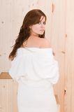Woman in a sauna with wet hair Royalty Free Stock Photography