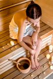 Woman in sauna Royalty Free Stock Photo
