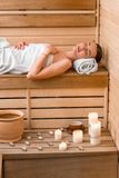 Woman in sauna Royalty Free Stock Photography