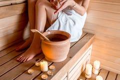 Woman in sauna royalty free stock photos