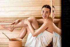 Woman in sauna Stock Photography