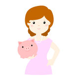 Woman save money in piggy bank  Royalty Free Stock Photos