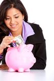Woman saving money Stock Images