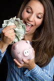 Woman Saving Money Royalty Free Stock Images