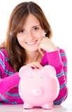 Woman saving money Royalty Free Stock Image