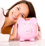 Woman saving money Royalty Free Stock Photo