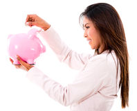 Woman saving money Stock Image
