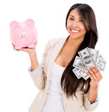 Woman saving money Royalty Free Stock Photos