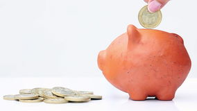 Woman saving money into a traditional clay piggy b. Close up of a woman saving money into a traditional clay piggy bank stock footage