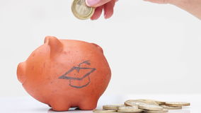 Woman saving money into a traditional clay piggy bank to study stock video