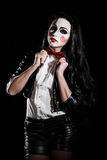 Woman with a Saw film cosplay makeup Royalty Free Stock Images