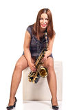 Woman with saxophone isolated on white Royalty Free Stock Photos