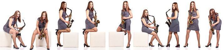 Woman with saxophone isolated on white Stock Image