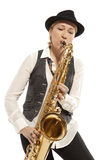Woman Saxophonist Stock Image