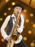 Woman Saxophonist Royalty Free Stock Photo