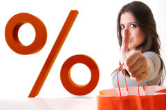 WOMAN Say ok! enjoy sale Shopping Stock Image