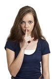 Woman Saying Be Quiet Stock Photography