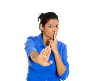 Woman saying be quiet Royalty Free Stock Image