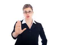 Woman saying stop. Young woman saying stop, isolated on white background Royalty Free Stock Photo