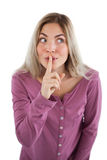 Woman saying to be quiet Royalty Free Stock Photo