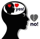 Woman says No where she means Yes. Concept of self deception or lying to oneself Stock Images