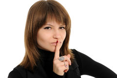 Woman says ssshhh Royalty Free Stock Image