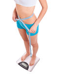 Woman on scale. Measures her weight loss progress Royalty Free Stock Images