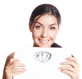 Woman with scales Stock Photo