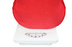 Woman&scales. Woman and scales on white background Royalty Free Stock Photography