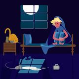 Woman scared of mouse. Sleepless young woman scared of mouse in the night. Vector illustration eps 10 royalty free illustration