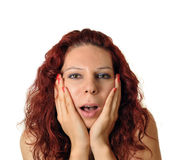 Woman scared or surprised. On white background Stock Images