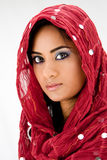 Woman with scarf. Beautiful woman with red head scarf, isolated Stock Photos