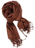 Woman scarf. Brown female accessorie scarf isolated on white background Royalty Free Stock Photography