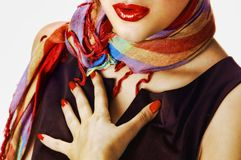 Woman with a scarf. Woman with a colorful scarf Stock Photography