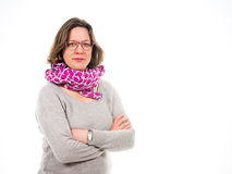 Woman with scarf and arms crossed Royalty Free Stock Photography