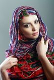 Woman scarf. Beautiful Arabic woman wearing head scarf Royalty Free Stock Images